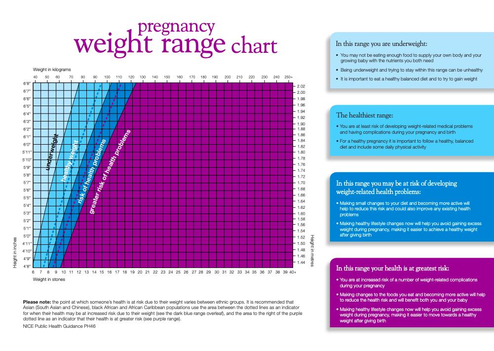 Pregnancy Weight Range Chart (Slimming World)