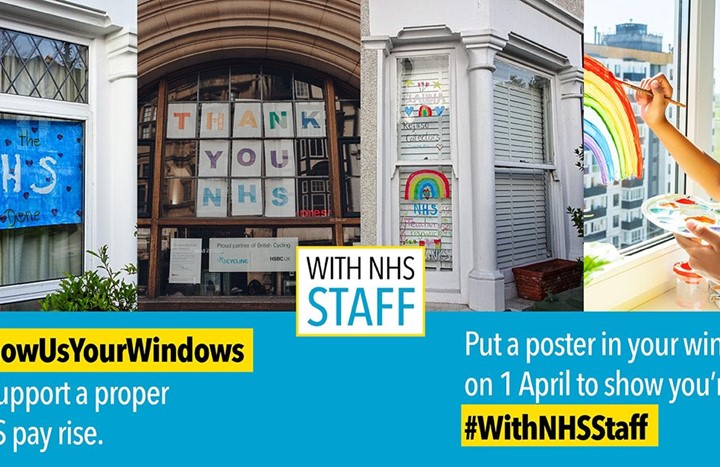 Create colourful window displays to support NHS staff on the day they're due a pay rise, say health unions